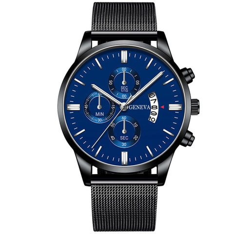 Image of Men's Fashion Business Calendar Watches Luxury Blue Stainless Steel Mesh Belt Analog Quartz Watch