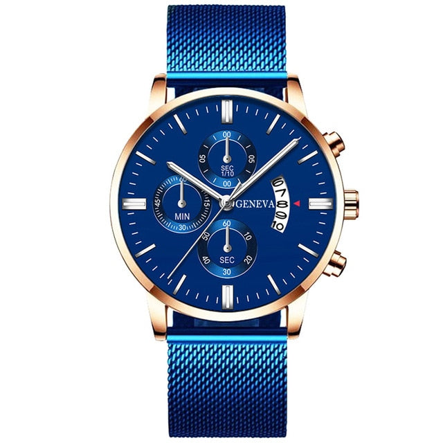 Men's Fashion Business Calendar Watches Luxury Blue Stainless Steel Mesh Belt Analog Quartz Watch