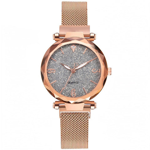 Image of Rose Gold Women Watch Top Brand Luxury Magnetic Starry Sky Lady Wrist Watch Mesh Female Clock