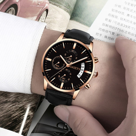 Image of Watches Men Fashion Sport Stainless Steel Case Leather Band watch Quartz Business Wristwatch