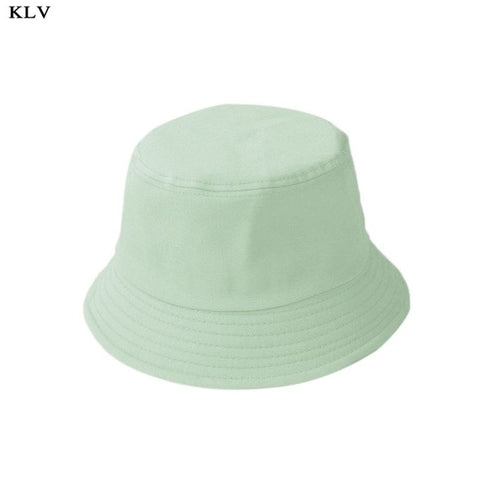 Image of Adult and Kids Summer Foldable Bucket Hat Solid Color Wide Brim Beach UV Protection Round Top Sunscreen Fisherman Cap