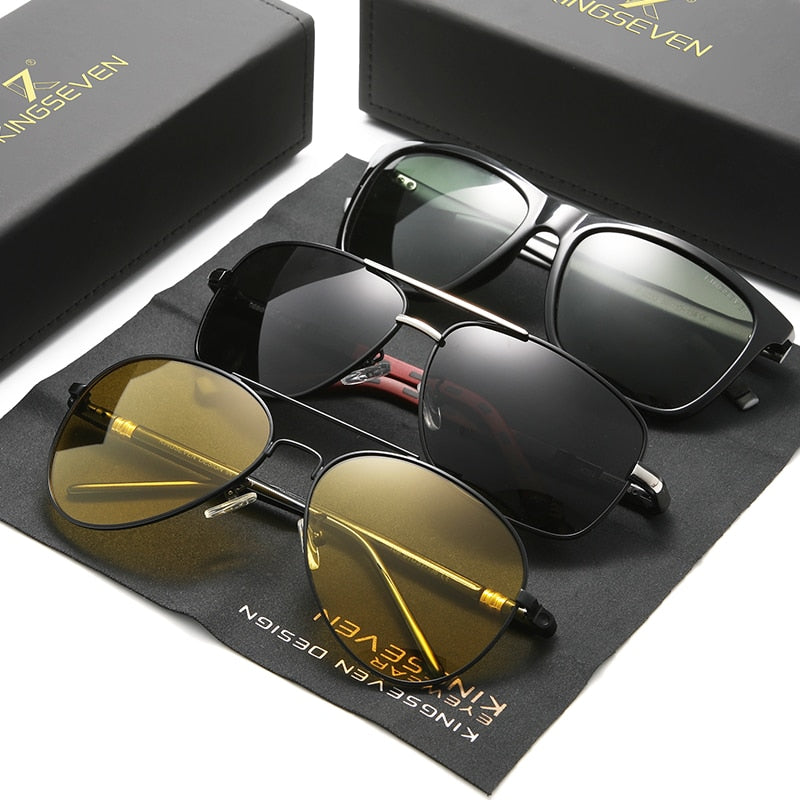 3PCS Combined Polarized Sunglasses For Men Night Vision Men's Fashion Square Driving Eyewear