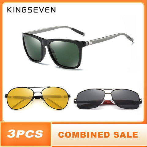 Image of 3PCS Combined Polarized Sunglasses For Men Night Vision Men's Fashion Square Driving Eyewear