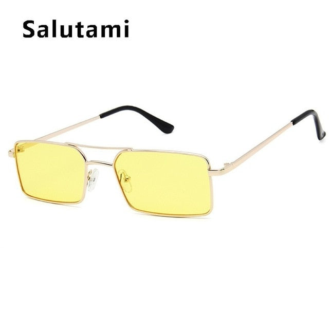 Square Women's Sunglasses Alloy Metal Small Frame Clear Double Bridge Men's Sun Glasses Vintage Chic Female Shades Red Yellow