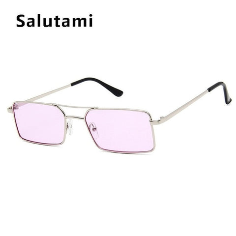 Image of Square Women's Sunglasses Alloy Metal Small Frame Clear Double Bridge Men's Sun Glasses Vintage Chic Female Shades Red Yellow