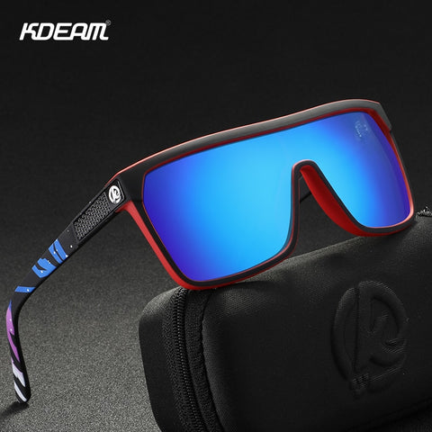 Image of KDEAM One-piece Shape Men Sunglasses Polarized Elastic Paint Surface Sun Glasses Women Suitable Long-lasting Goggles Cat.3