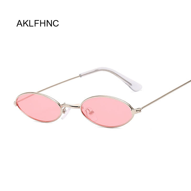 Small Frame Black Shades Round Sunglasses Women Oval Brand Designer Vintage Fashion Pink Sun Glasses Female
