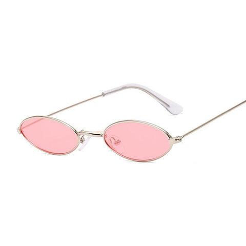 Image of Small Frame Black Shades Round Sunglasses Women Oval Brand Designer Vintage Fashion Pink Sun Glasses Female