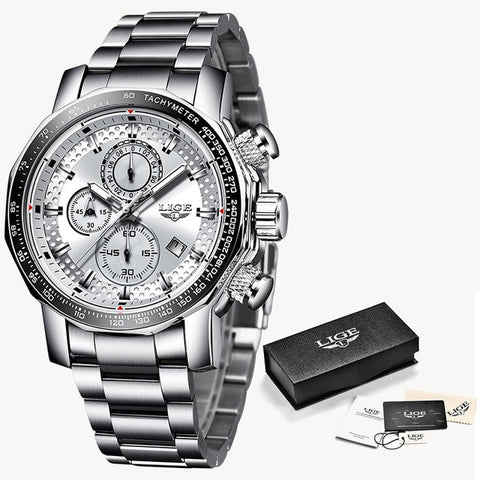 Image of Lige Sport Chronograph Mens Watches Top Brand Luxury Full Steel Quartz Clock Waterproof Big Dial Watch Men