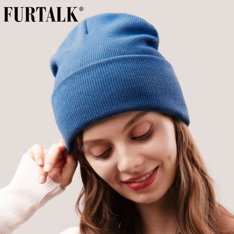 Image of FURTALK Beanie Hat for Women Men Winter Hat Knitted Autumn Skullies Hat Unisex Ladies Warm Bonnet Cap