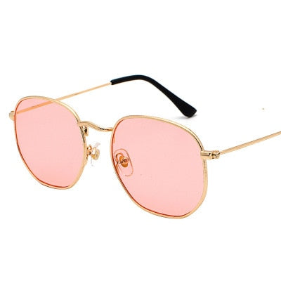 Hexagon Sunglasses Women Brand Designer Small Square Sunglasses Men Metal Frame Driving Fishing Glasses