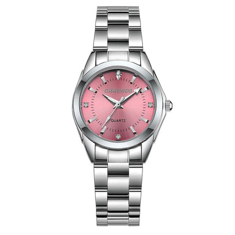 Image of Chronos Women Stainless Steel Rhinestone Watch Silver Bracelet Quartz Waterproof Lady Business Analog Watches Pink Blue Dial