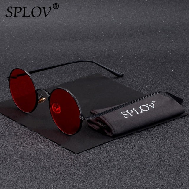 SPLOV Vintage Men Sunglasses Women Retro Punk Style Round Metal Frame Colorful Lens Sun Glasses Fashion Eyewear