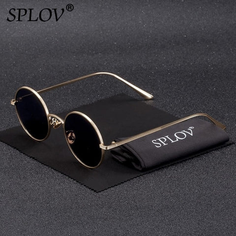 Image of SPLOV Vintage Men Sunglasses Women Retro Punk Style Round Metal Frame Colorful Lens Sun Glasses Fashion Eyewear