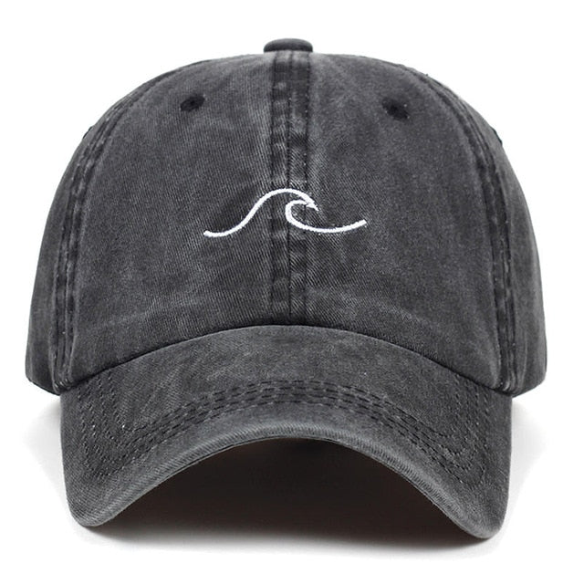 Washed wave dad hat for women cotton embroidery wavy line baseball cap men snapback hat sea sports cap