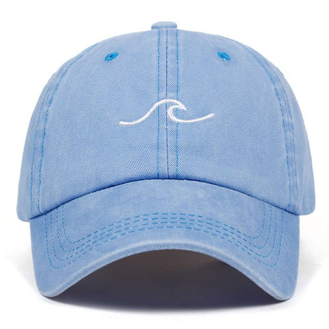 Image of Washed wave dad hat for women cotton embroidery wavy line baseball cap men snapback hat sea sports cap