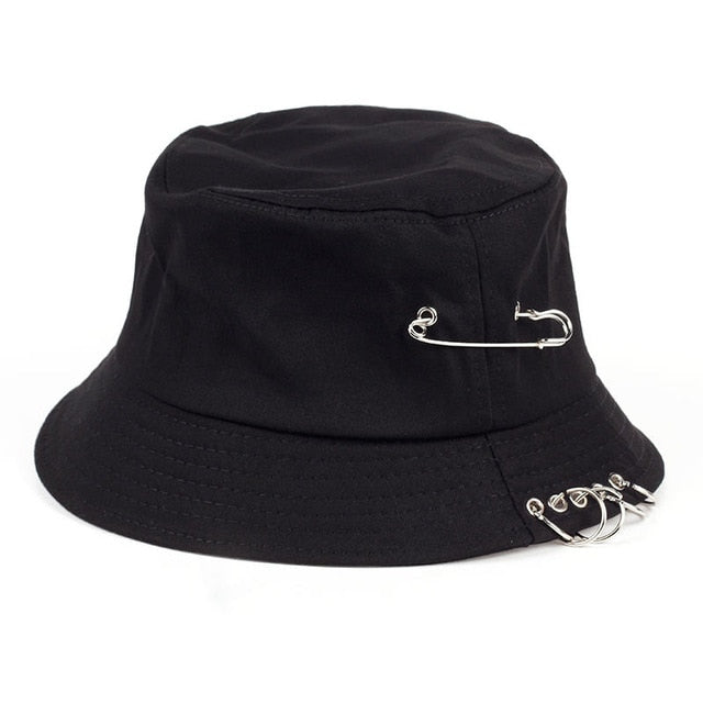 Solid Color iron pin rings personality Bucket Hat cap for unisex women men cotton fishermen caps
