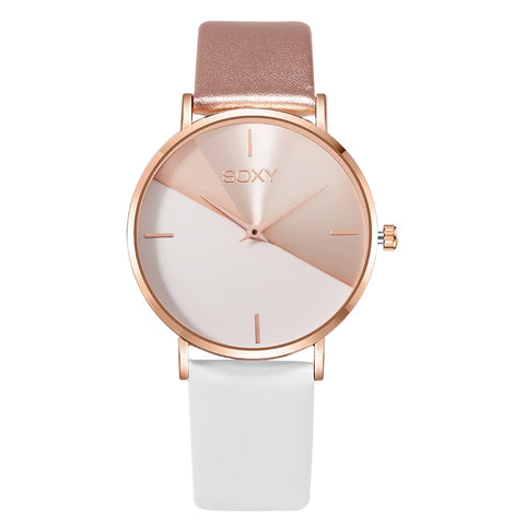 Image of Women's watch leather rose gold dress female clock luxury brand design women watches simple fashion ladies watch