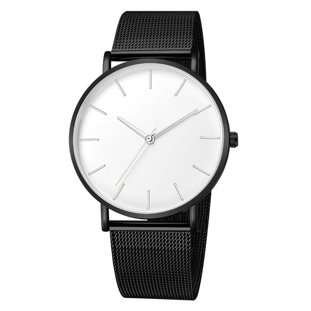Men Watch Quartz Casual Watches Simple Metal Hour Quartz Watch Mesh Stainless Steel Watch