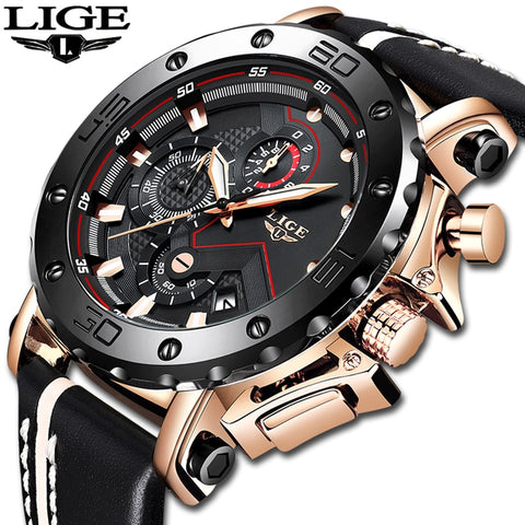 Image of Fashion Mens Watches Top Brand Luxury Big Dial Military Quartz Watch Leather Waterproof Sport Chronograph Watch Men