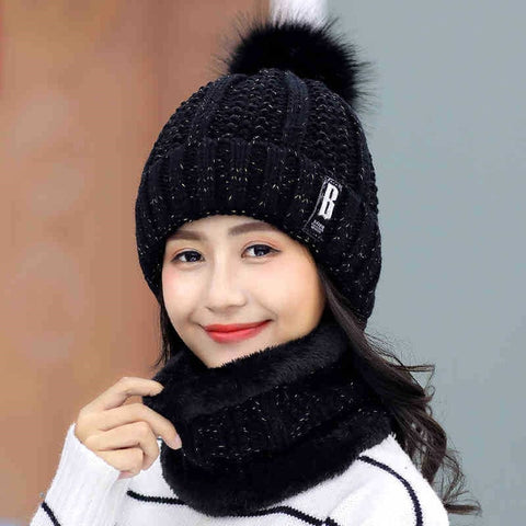 Image of Winter Knitted Beanies Hats Women Thick Warm Beanie Skullies Hat Female Knit Letter Bonnet Beanie Caps Outdoor Riding Sets