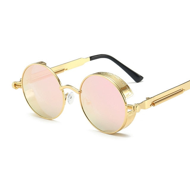 Classic Gothic Steampunk Sunglasses Women Brand Designer Vintage Round Metal Frame Sun Glasses Female Male High Quality UV400