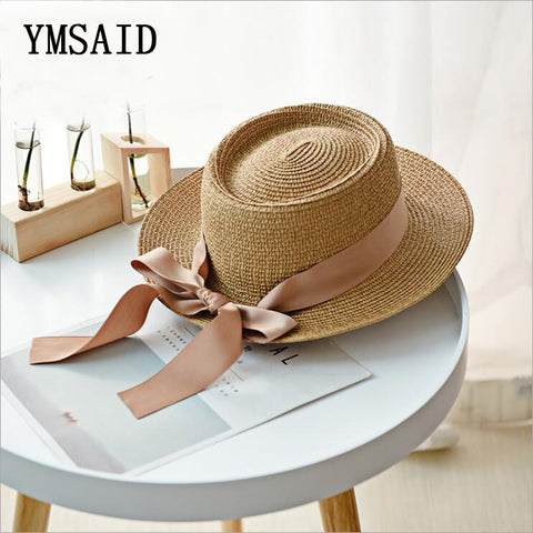 Image of Summer Sun Hats Women Fashion Girl Straw Hat  Ribbon Bow Beach Hat Casual Straw Flat Top Panama Hat