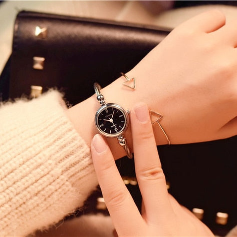 Image of Small Gold Bangle Bracelet Luxury Watches Stainless Steel Retro Ladies Quartz Wristwatches Fashion Casual Women Dress Watch