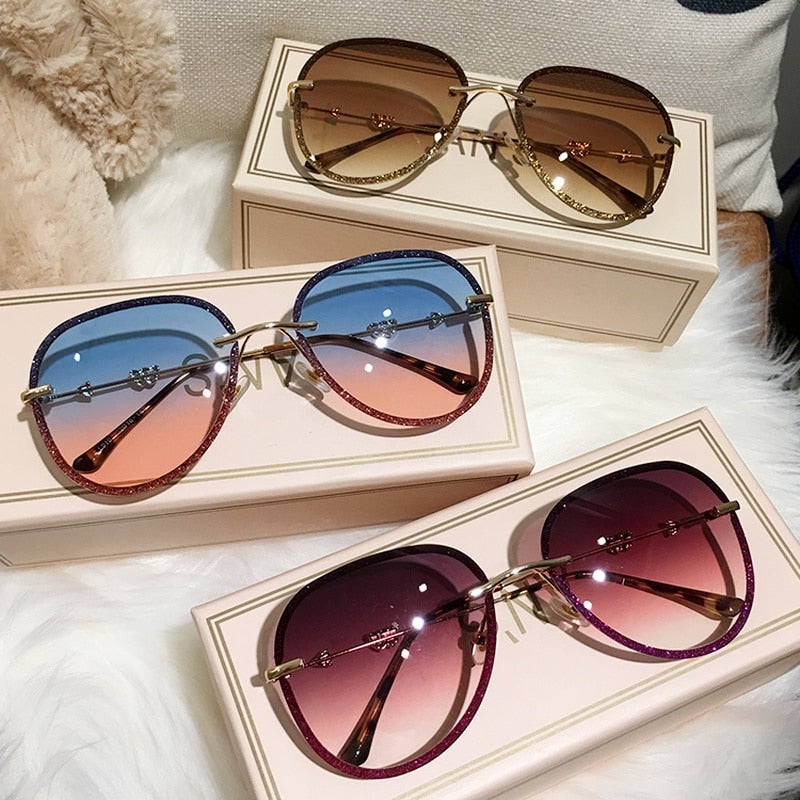 Diamond Sunglasses Female Imitation Rhinestones Gradient Color UV400 Women Sunglasses
