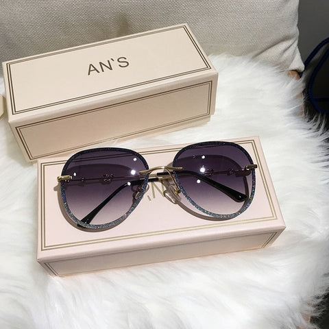 Image of Diamond Sunglasses Female Imitation Rhinestones Gradient Color UV400 Women Sunglasses
