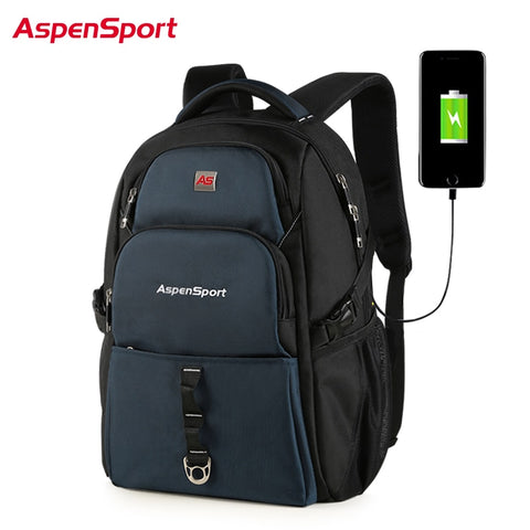 Image of AspenSport Backpack for Men with USB Charging & Anti-Theft Travel Rucksacks Male Water Resistant Bag Fits Under 17 Inch Laptop