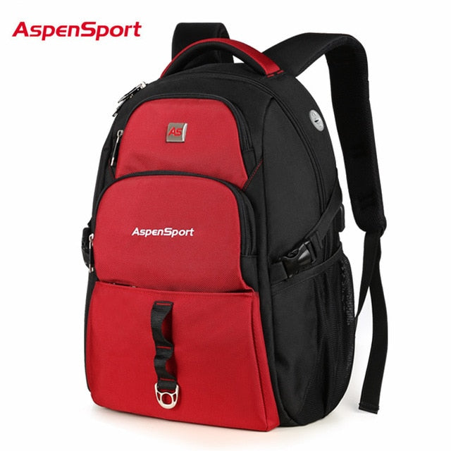 AspenSport Backpack for Men with USB Charging & Anti-Theft Travel Rucksacks Male Water Resistant Bag Fits Under 17 Inch Laptop