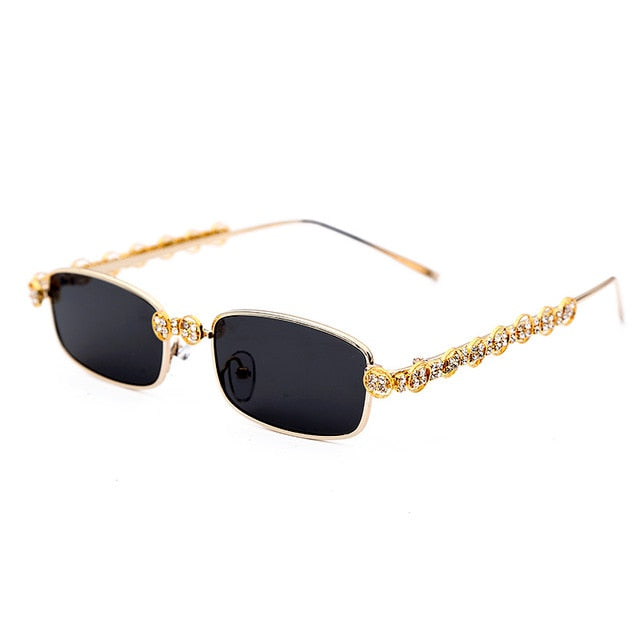 Rectangle Rhinestone Sunglasses Women Fashion Steampunk Diamond Sun Glasses Crystal Vintage Shades Eyeglasses UV400 Oculos