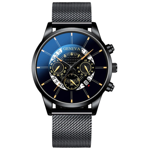 Image of Luxury Men's Fashion Business Calendar Watches Blue Stainless Steel Mesh Belt Analog Quartz Watch