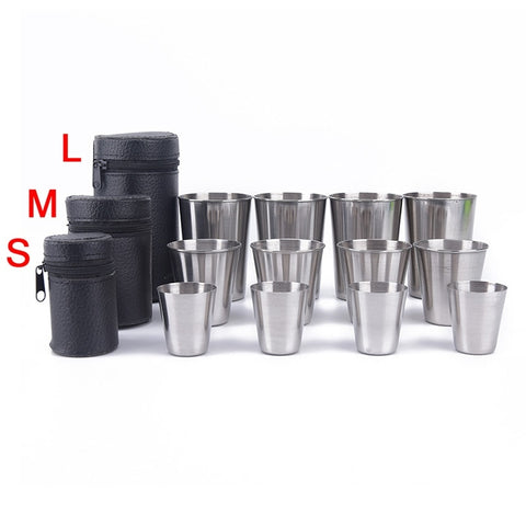Image of Outdoor Camping Cup Tableware 30ml/70ml/170ml Travel Cups Set Stainless Steel Cover Mug Drinking Coffee, Tea, Beer With Case