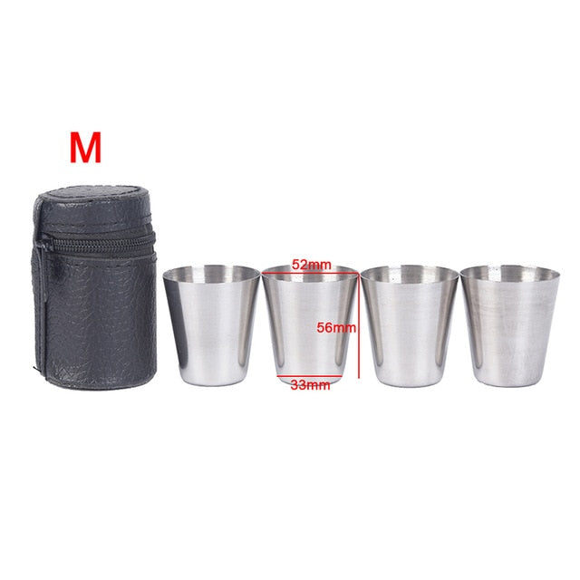Outdoor Camping Cup Tableware 30ml/70ml/170ml Travel Cups Set Stainless Steel Cover Mug Drinking Coffee, Tea, Beer With Case