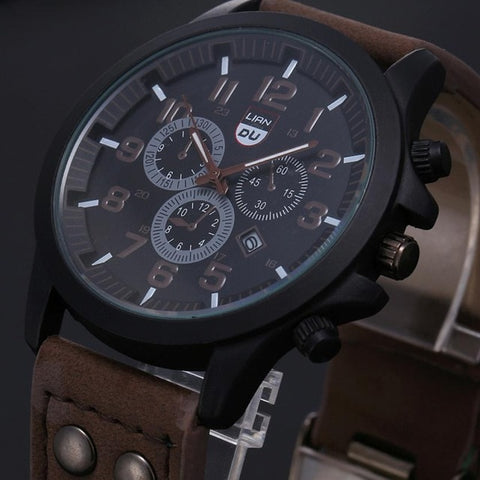 Image of Vintage Classic Watch Men Watches Stainless Steel Waterproof Date Leather Strap Sport Quartz Army