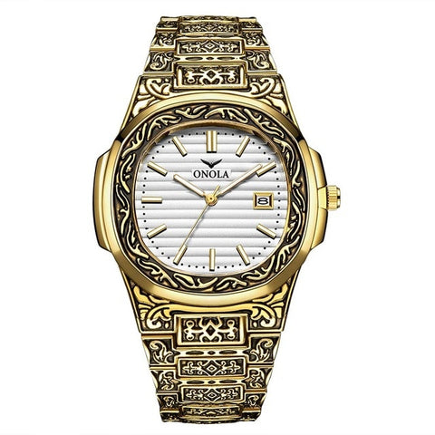 Image of Fashion quartz watch men luxury retro golden stainless steel watch men  watch