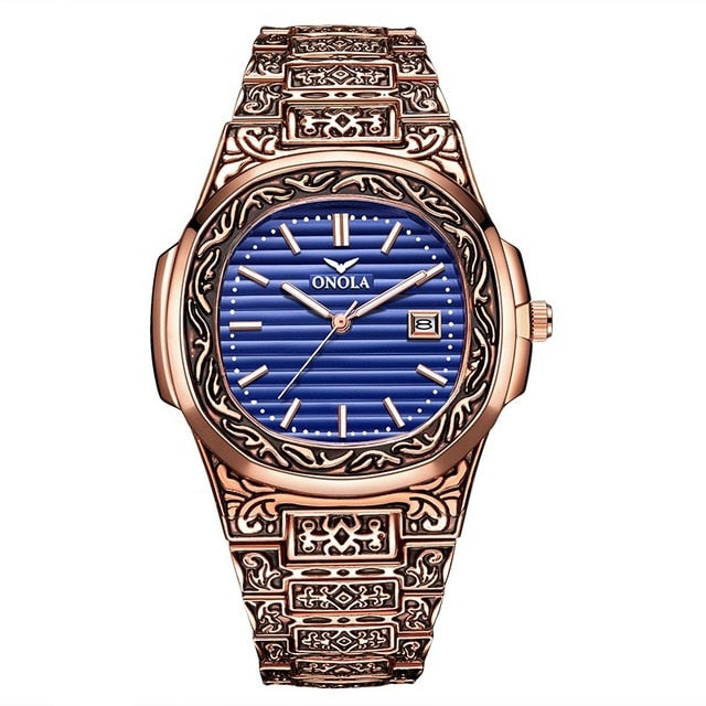 Fashion quartz watch men luxury retro golden stainless steel watch men  watch