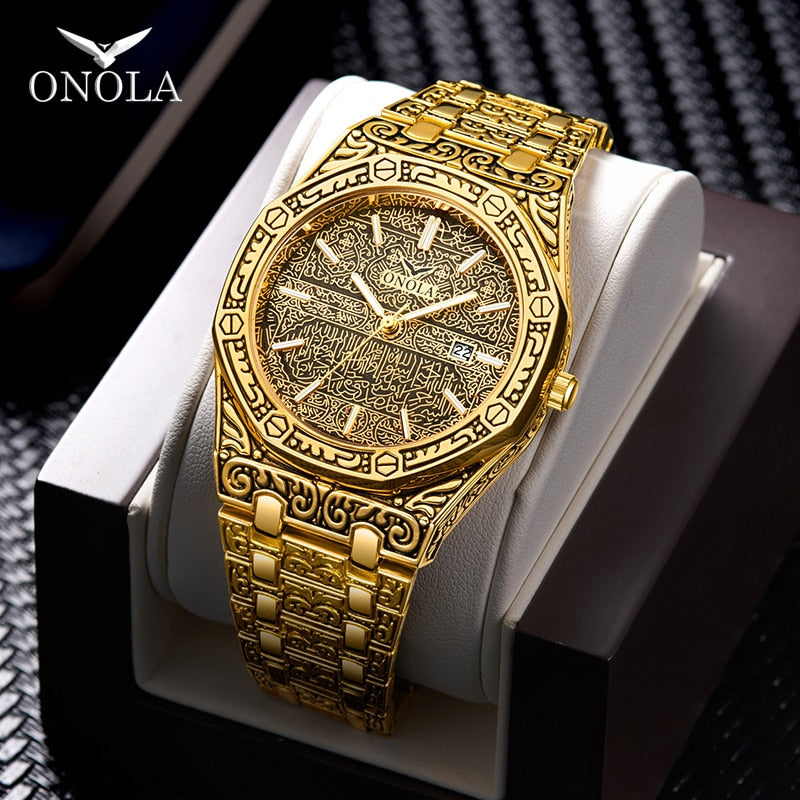 Fashion watch men Brand Onola luxury classic designer stainless steel band gold watches for men