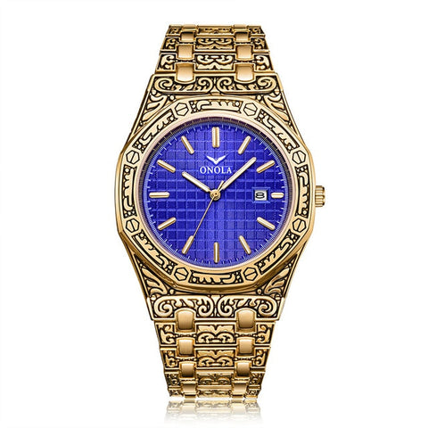 Image of Fashion watch men Brand Onola luxury classic designer stainless steel band gold watches for men