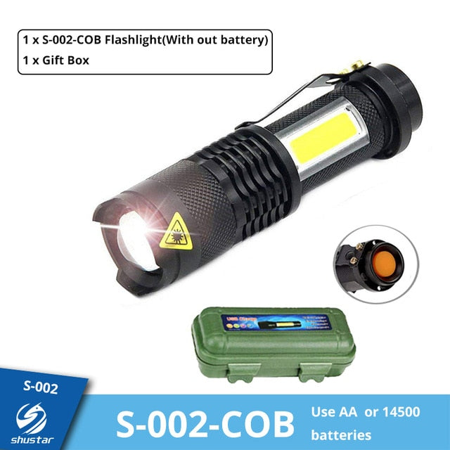 Mini Rechargeable LED Flashlight Use XPE + COB lamp beads 100 meters lighting distance Used for adventure, camping, etc.