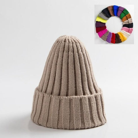 Image of Unisex Hat Cotton Blends Solid Warm Soft Knitted Hats Men Winter Caps Women's Skullies Beanies