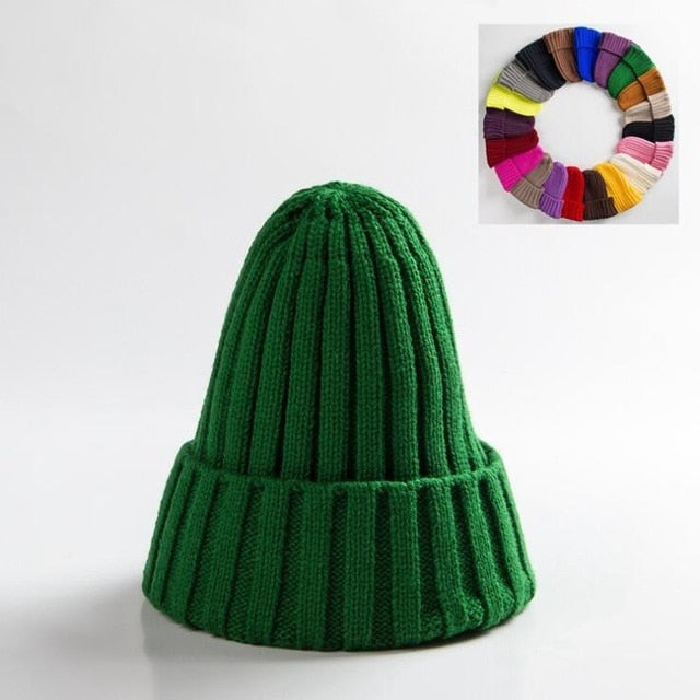 Unisex Hat Cotton Blends Solid Warm Soft Knitted Hats Men Winter Caps Women's Skullies Beanies