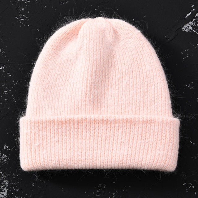 Winter Hat for Women Rabbit Cashmere Knitted Beanies Thick Warm Vogue Ladies Wool Angora Hat Female Beanie Hats