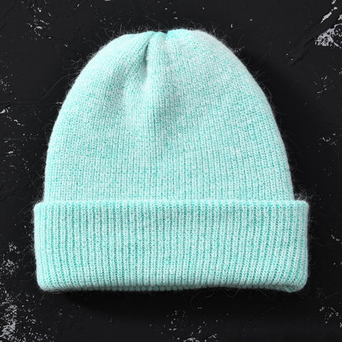 Image of Winter Hat for Women Rabbit Cashmere Knitted Beanies Thick Warm Vogue Ladies Wool Angora Hat Female Beanie Hats