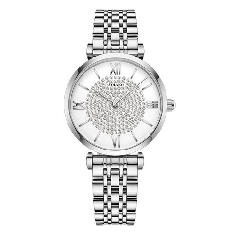 Image of Women Watches Top Brand Luxury Fashion Diamond Ladies Wristwatches Stainless Steel Silver Mesh Strap Female Quartz Watch