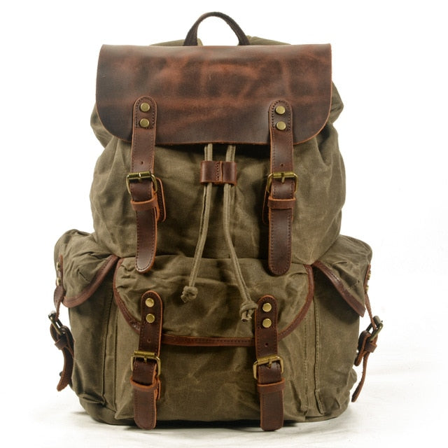 M229 Multifunction Casual Canvas Backpacks Vintage Waterproof Large Capacity Travel Bag Women Leather Laptop Rucksack