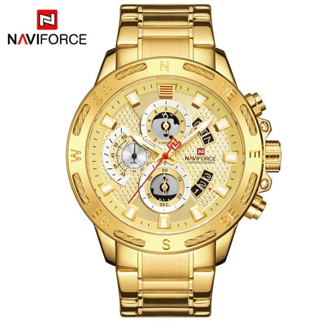 Gold Men Watches Stainless Steel Quartz Watch Male Chronograph Military Waterproof Clock Wrist watch