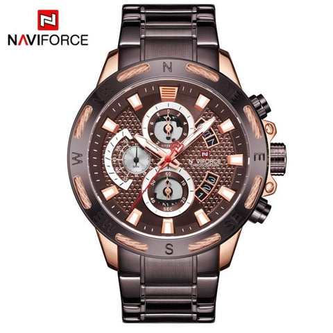 Image of Gold Men Watches Stainless Steel Quartz Watch Male Chronograph Military Waterproof Clock Wrist watch